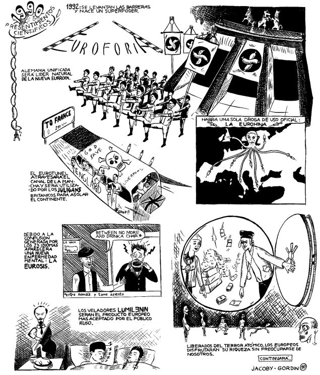 Jacoby y Gordín - Historietas 1989-1990 - presentimientos cientificos,panel 4, tinta sobre papel, 1990