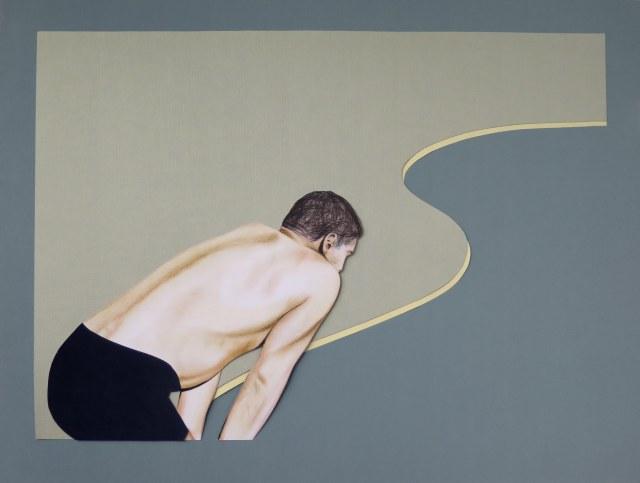Has llorado en silencio-Martín Sichetti. The Swimmer, 2016, collage, lápiz y pastel sobre papel, 60 x 80 cm